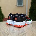 Мужские кожаные кроссовки Adidas OZWEEGO (черно-зеленые) 10040, фото 8