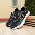 Мужские кожаные кроссовки Adidas OZWEEGO (черно-зеленые) 10040, фото 9