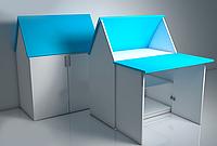 Домик трансформер стол-парта «ЗЮ-ЗЮ» Design Service Двухцвет (В*Ш*Г) 1050*800*500мм белый/голубой