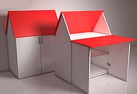 Домик трансформер стол-парта «ЗЮ-ЗЮ» Design Service Двухцвет (В*Ш*Г) 1050*800*500мм белый/красный