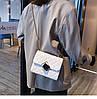 Белая прошита сумочка через плечо, фото 7
