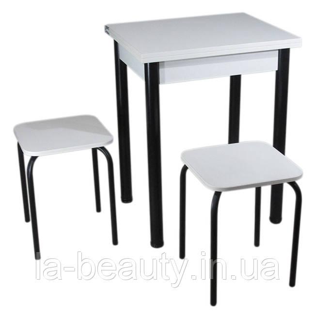 Кухонный комплект Тавол Компакт (раскладной стол+2 табурета) 93х60х75 ножки черные Белый