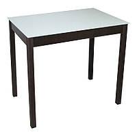 Стеклянный стол Тавол Видрис 93смх60смх75см деревянные ножки Венге-Молочный, фото 1