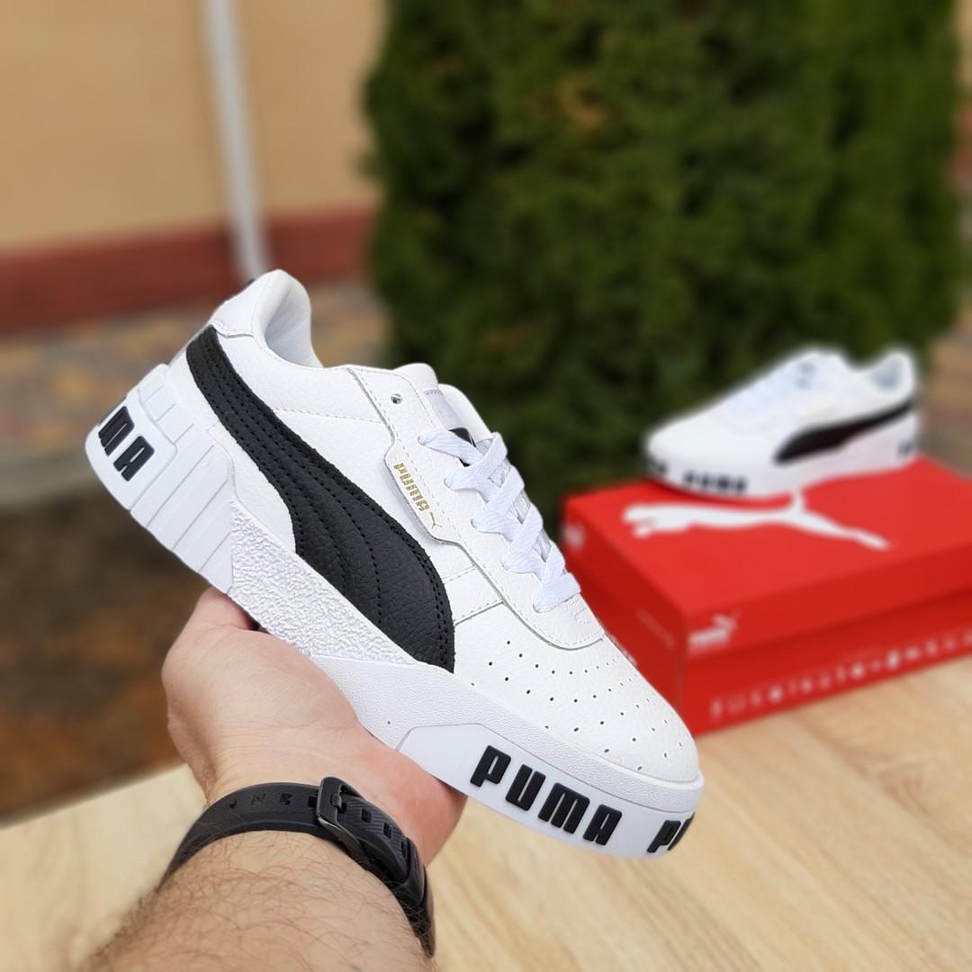Женские кожаные кроссовки Puma Cali Bold (бело-черные) 20010