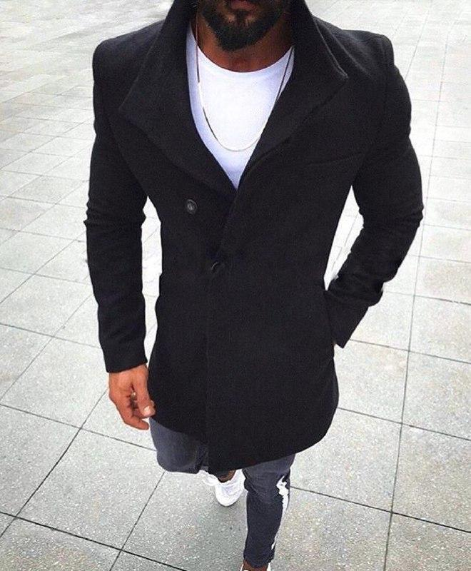 Мужское модное пальто (черное) - Турция (sc1)