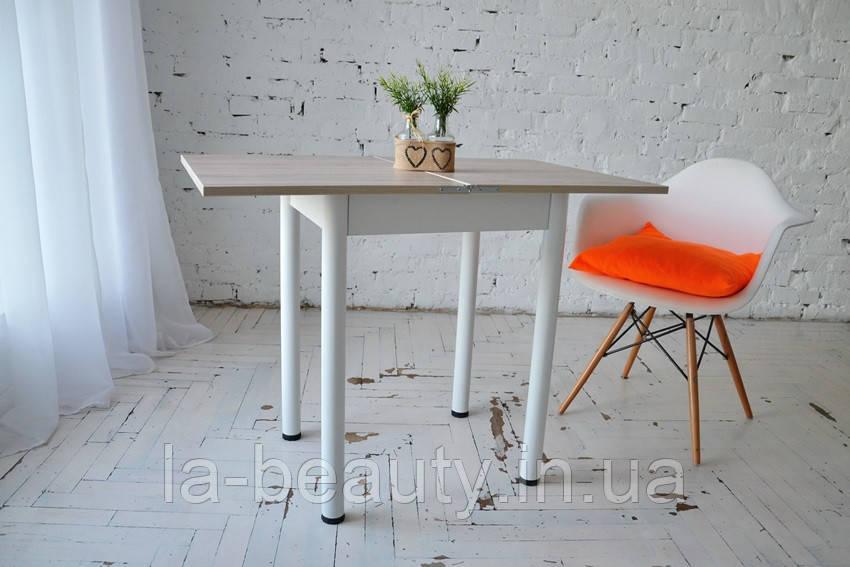 Стол кухонный раскладной Тавол Компакт ноги металл белые 50 см х 60 см х 75 см  Ясень