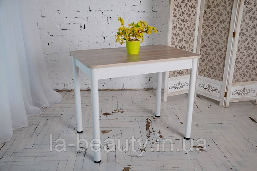 Стол Тавол Классик с металлическими белыми ножками 93 см х 60см х 75 см Ясень