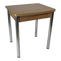 Стол раскладной Тавол Овале 60 см х 70 см х 75 см овальный ноги металл хром Орех, фото 1