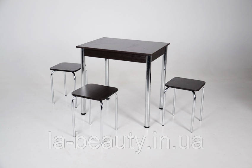 Стол Тавол Ретта не раскладной + 3 табурета 80х60х75 металл хром Венге