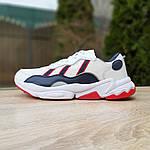 Мужские кожаные кроссовки Adidas OZWEEGO (бело-синие с красным) 10038, фото 3