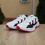 Мужские кожаные кроссовки Adidas OZWEEGO (бело-синие с красным) 10038, фото 5