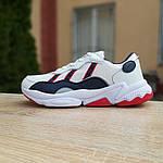 Мужские кожаные кроссовки Adidas OZWEEGO (бело-синие с красным) 10038, фото 6