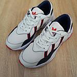 Мужские кожаные кроссовки Adidas OZWEEGO (бело-синие с красным) 10038, фото 7