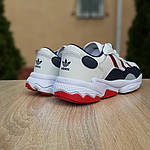 Мужские кожаные кроссовки Adidas OZWEEGO (бело-синие с красным) 10038, фото 8
