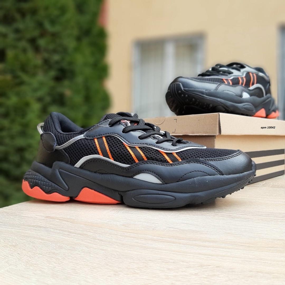 Мужские кожаные кроссовки Adidas OZWEEGO (черно-оранжевые) 10042