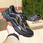 Мужские кожаные кроссовки Adidas OZWEEGO (черно-оранжевые) 10042, фото 2