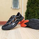 Мужские кожаные кроссовки Adidas OZWEEGO (черно-оранжевые) 10042, фото 3