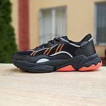 Мужские кожаные кроссовки Adidas OZWEEGO (черно-оранжевые) 10042, фото 5