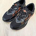 Мужские кожаные кроссовки Adidas OZWEEGO (черно-оранжевые) 10042, фото 7