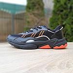 Мужские кожаные кроссовки Adidas OZWEEGO (черно-оранжевые) 10042, фото 8