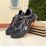 Мужские кожаные кроссовки Adidas OZWEEGO (черно-оранжевые) 10042, фото 9