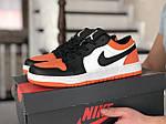 Мужские кожаные кроссовки Nike Air Jordan 1 Low (бело-оранжевые) 9153, фото 2