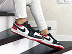 Женские кожаные кроссовки Nike Air Jordan 1 Low (бело-черные с красным) 9158, фото 2