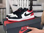 Женские кожаные кроссовки Nike Air Jordan 1 Low (бело-черные с красным) 9158, фото 3