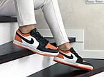 Женские кожаные кроссовки Nike Air Jordan 1 Low (бело-черные с оранжевым) 9160, фото 2