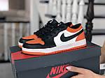 Женские кожаные кроссовки Nike Air Jordan 1 Low (бело-черные с оранжевым) 9160, фото 4