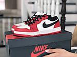 Жіночі шкіряні кросівки Nike Air Jordan 1 Low (біло-червоні) 9162, фото 2