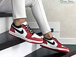 Жіночі шкіряні кросівки Nike Air Jordan 1 Low (біло-червоні) 9162, фото 3