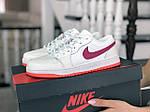 Женские кожаные кроссовки Nike Air Jordan 1 Low (бело-малиновые) 9163, фото 2