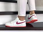 Женские кожаные кроссовки Nike Air Jordan 1 Low (бело-малиновые) 9163, фото 4