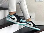 Жіночі шкіряні кросівки Nike Air Jordan 1 Low (біло-чорні з м'ятою) 9164, фото 2