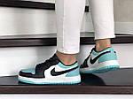 Жіночі шкіряні кросівки Nike Air Jordan 1 Low (біло-чорні з м'ятою) 9164, фото 3