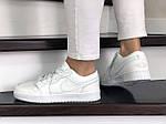 Женские кожаные кроссовки Nike Air Jordan 1 Low (белые) 9165, фото 2