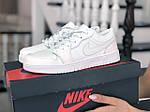 Женские кожаные кроссовки Nike Air Jordan 1 Low (белые) 9165, фото 3