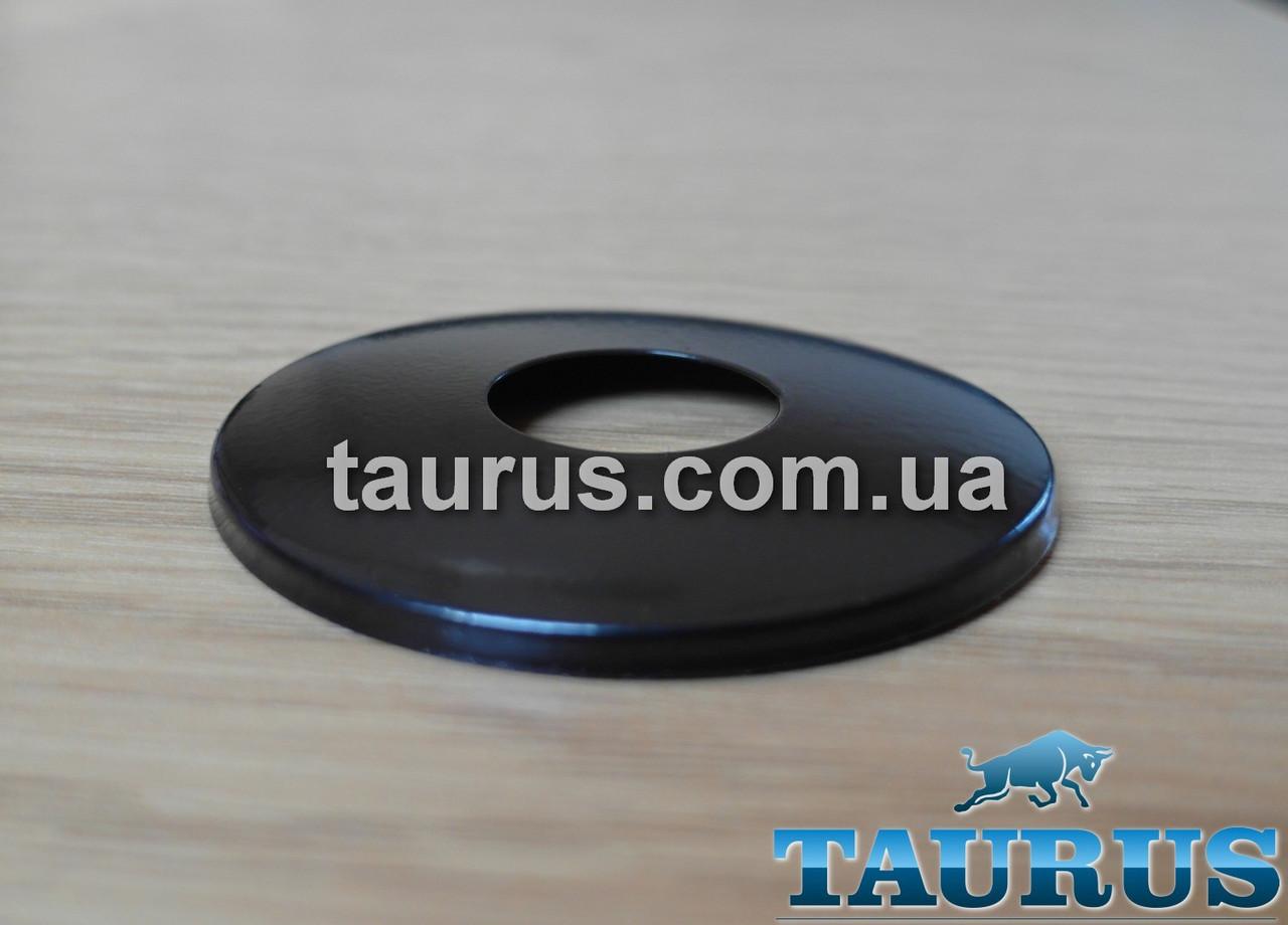 """Чёрный плоский декоративный фланец, размер D61 мм, Латунь; под внутренний размер 1/2"""" (20 мм). Высота 5 мм."""