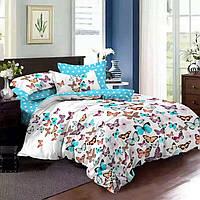 Комплект постельного белья размер ПОЛУТОРНЫЙ материал - бязь голубой с белым бабочки/горох