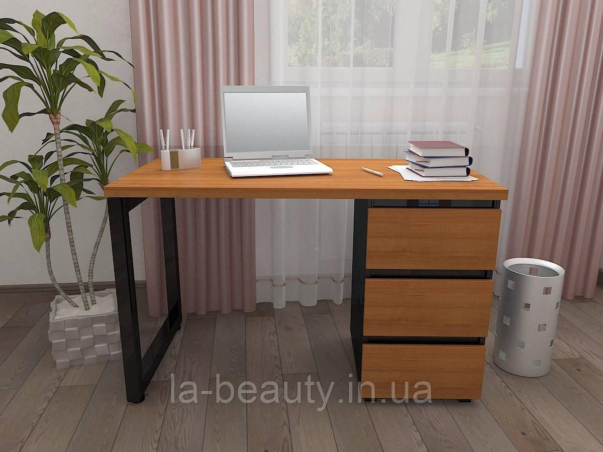 Стол Тавол КС 8.3 со стационарной тумбой металл опора черная 120смх60смх75см ДСП 32 мм Орех-Черный