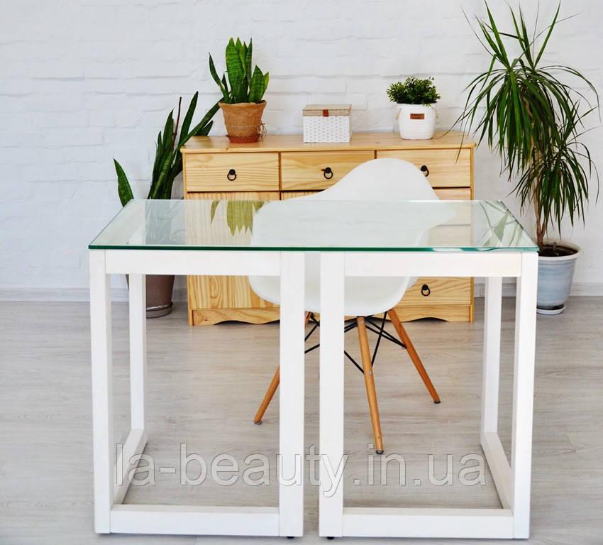 Стол Тавол Рахмен натуральное дерево+закаленное стекло 110смх55смх75см Белый