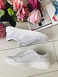Классные кожаные женские кроссовки на шнурках белые, фото 6