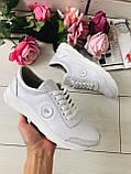 Классные кожаные женские кроссовки на шнурках белые, фото 2