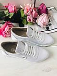 Классные кожаные женские кроссовки на шнурках белые, фото 7