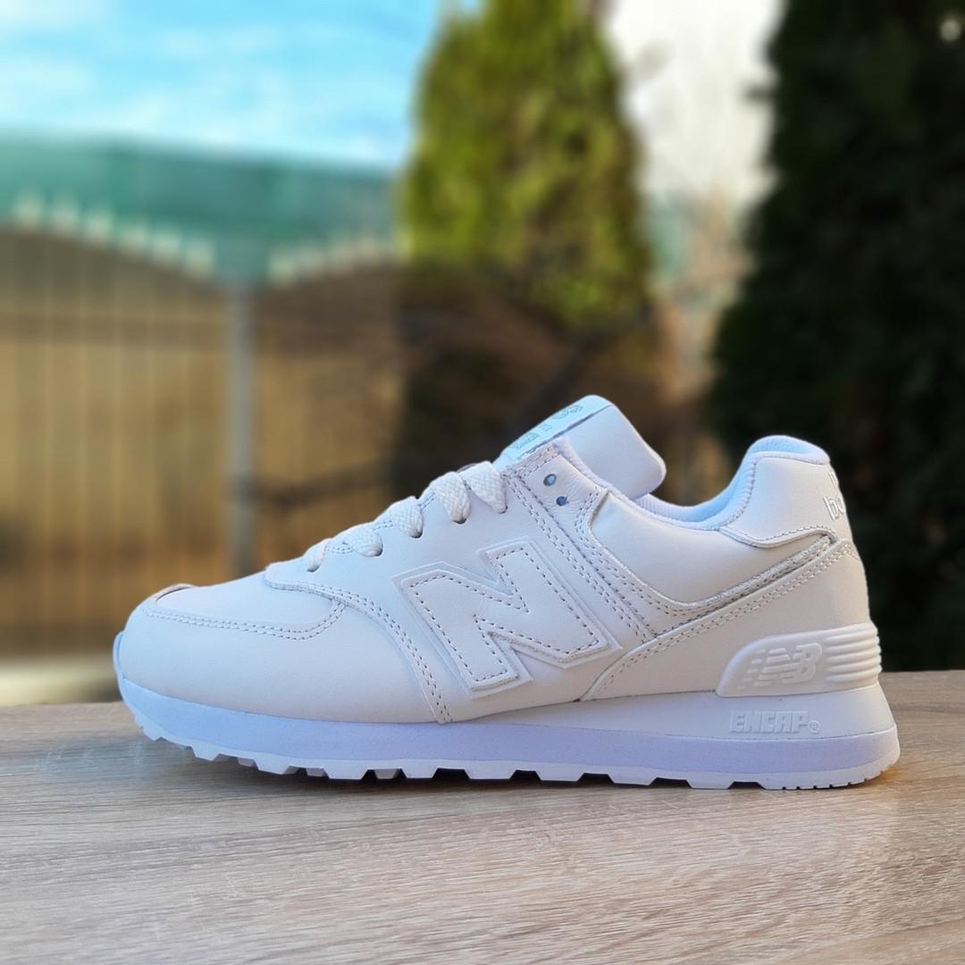 Жіночі шкіряні кросівки New Balance 574 (білі) 2970