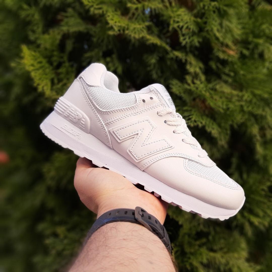 Жіночі шкіряні кросівки New Balance 574 (білі) 2969