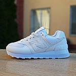 Жіночі шкіряні кросівки New Balance 574 (білі) 2969, фото 4