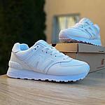 Жіночі шкіряні кросівки New Balance 574 (білі) 2969, фото 6