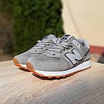 Жіночі замшеві кросівки New Balance 574 РЕФЛЕКТИВ (сірі) 20028, фото 5